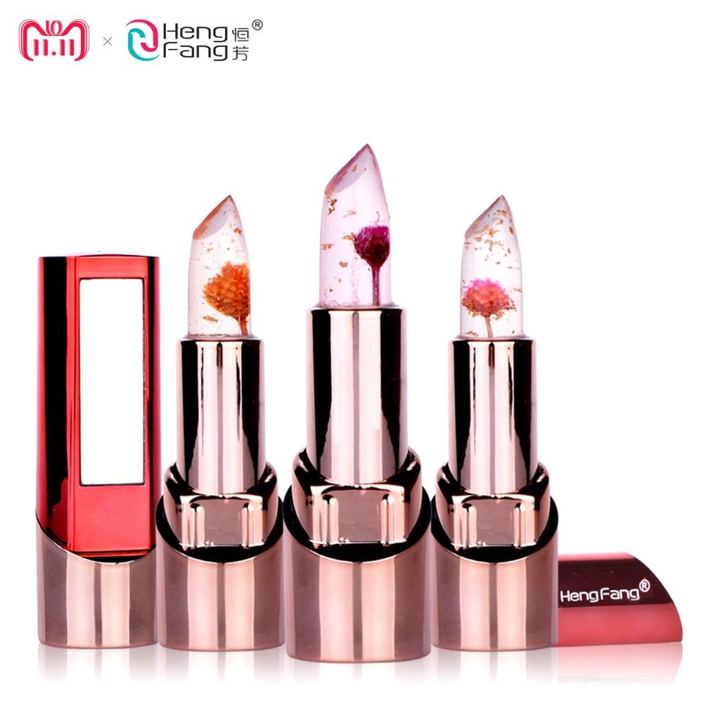 Gold Flower Lipstick 3 Fruit Flavors Temperature changed Lip Balm Moisturizer Lips 3.5g Makeup Brand HengFang #H9302