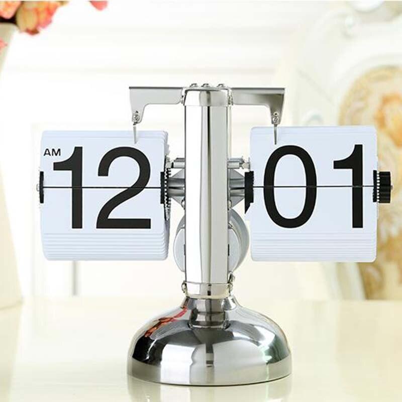 Blanc couleur Retro Flip Down horloge Unique moderne noir réglable hauteur engrenage interne fonctionnant Table bureau horloges