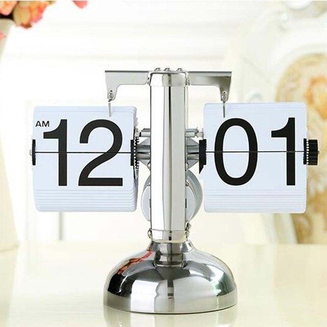 eeb82a7f177 Cor branca Retro Flip Down relógio moderno único preto altura ajustável  engrenagem interna operada mesa relógios