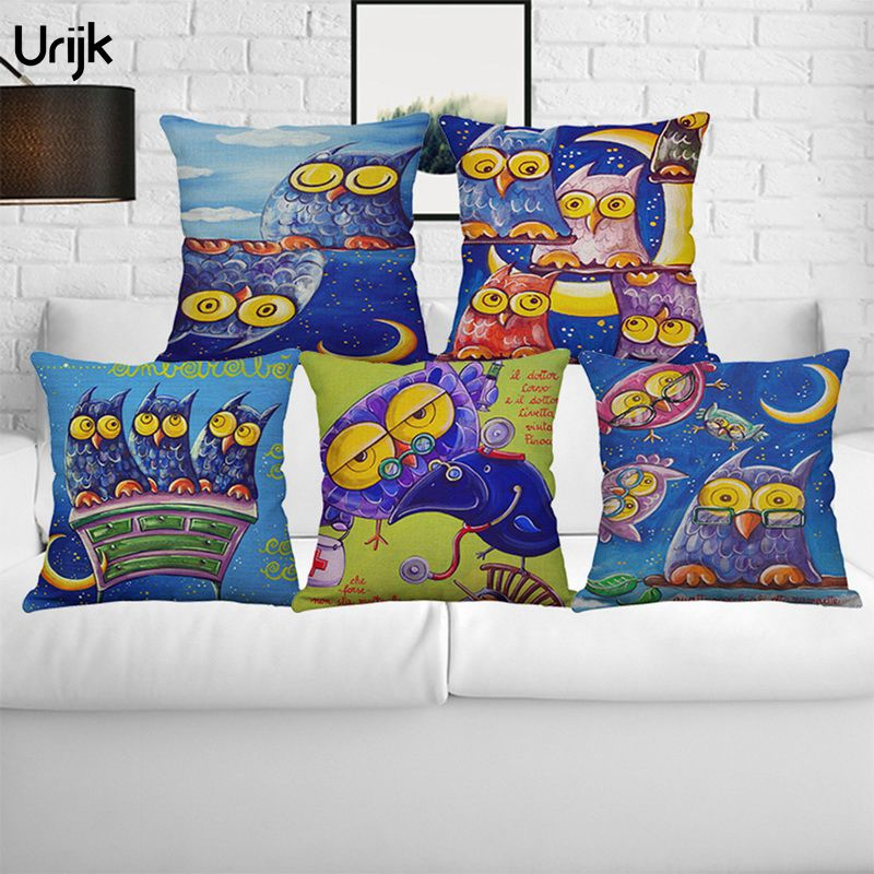 Urijk 1PC Decorations Home Cute Owl Print Cushion Cover for Children Blue Color Pillow Covers Square Linen Cotton Cushion