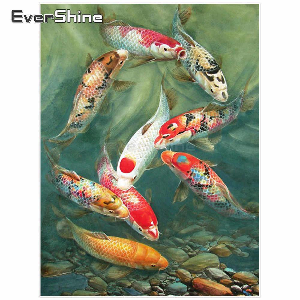 Evershine เพชรเย็บปักถักร้อยปลาเต็มรูปแบบเพชรโมเสค Rhinestones เพชรภาพวาดสัตว์ CROSS Stitch KOI ภาพวาด