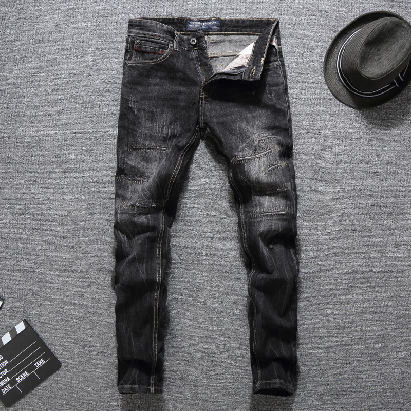 Italy Style Fashion Men Jeans Black Color Destroyed Ripped Jeans Men Embroidery Denim Pants Streetwear Hip Hop Skinny Jeans in Jeans from Men 39 s Clothing