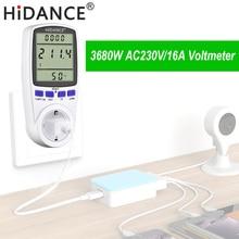HiDANCE AC power meter 220v digital wattmeter eu energy meter watt monitor electricity consumption Measuring socket analyzer