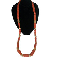Dudo 60 Inches Men's 100% Genunie Long African Coral Beads Jewelry Set Orange / Red / White Available Groom Jewellery Set 2019