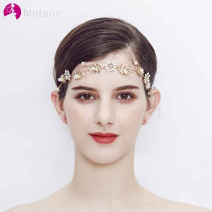 MOLANS Noble Handmade Pearls Floral Headbands for Bride Hair Accessories Simple Golden Alloy with Beading Headpiece for Wedding