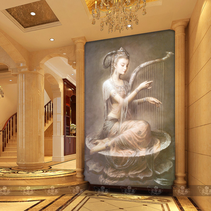Custom painted large mural wall wallpaper background wallpaper the living room entrance hallway Chinese painting Dunhuang Dream free shipping 3d stereo entrance hallway custom wallpaper vertical version european oil painting wallpaper mural