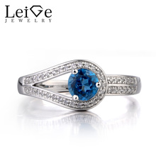 Leige Jewelry London Blue Topaz Ring Wedding Ring November Birthstone Round Cut Blue Gemstone 925 Sterling Silver Ring for Her