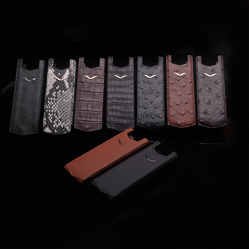 Business Style Luxury Genuine Leather Straight Case For Vertu Signature S CEO 168 Mobile Phone Full