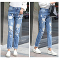 Women's Ripped Casual Jeans Fashion Jeans Hole Loose Pants Size Embroidered Denim Trousers Mid Waist Woman Pants