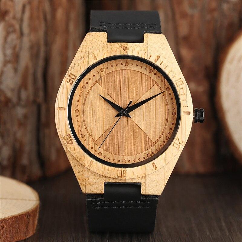 Creative Bamboo Quartz Wrist Watch Women Nature Wood Creative Watches Men Black Genuine Leather Band Analog Clock 2018 New Gift
