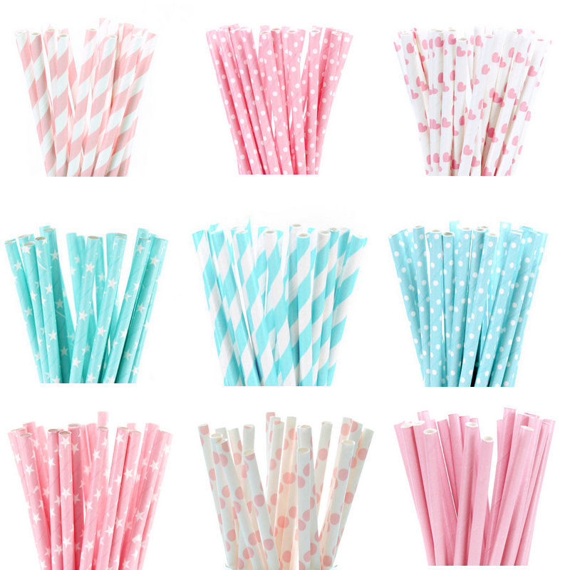 12 Pink Stripe Paper Straws Drinking Straws Party Decoration Eco Wedding