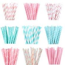 25 шт./партия светло-розовые светло-голубые бумажные соломинки для напитков для дня рождения украшения детский душ свадебные декоративные