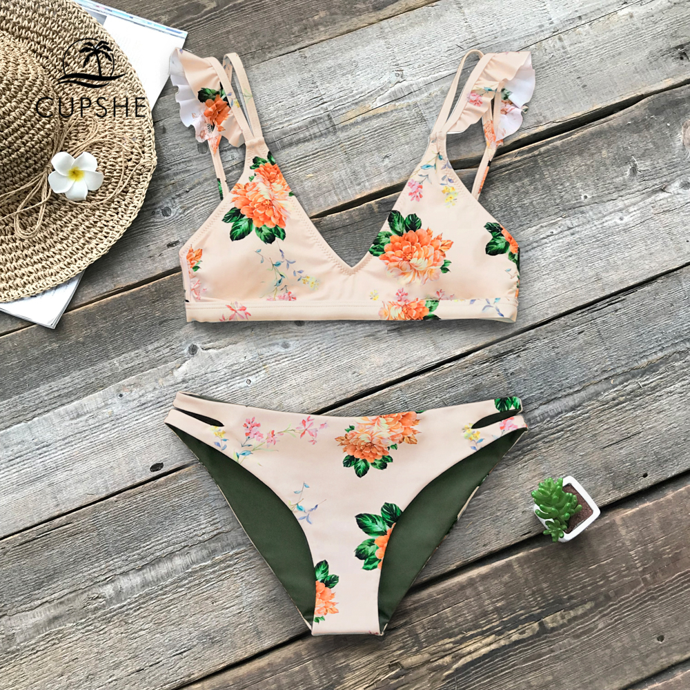 CUPSHE Floral Print Ruffle Reversible Bikini Sets Women Sexy Thong Two Pieces Swimsuits 2020 Girl Beach Bathing Suits