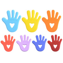 New Baby Silicone Teething palm Shape Baby Teethers Chewable Toys Teething Baby Necklace Pacifier for Baby Dental Care 7 Colors