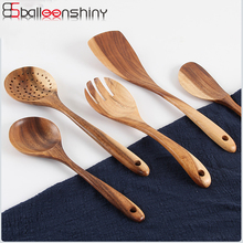 BalleenShiny деревянная ложка с длинной ручкой кухонные инструменты для приготовления пищи антипригарная лопаточка для сковороды большая ложка для супа одноразовые столовые приборы