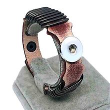 Hot Rock Punk 144 Really Genuine Leather Retro Fashion Bracelet Bangle Fit 18mm Snap Button Charm Jewelry For Women Men Gift