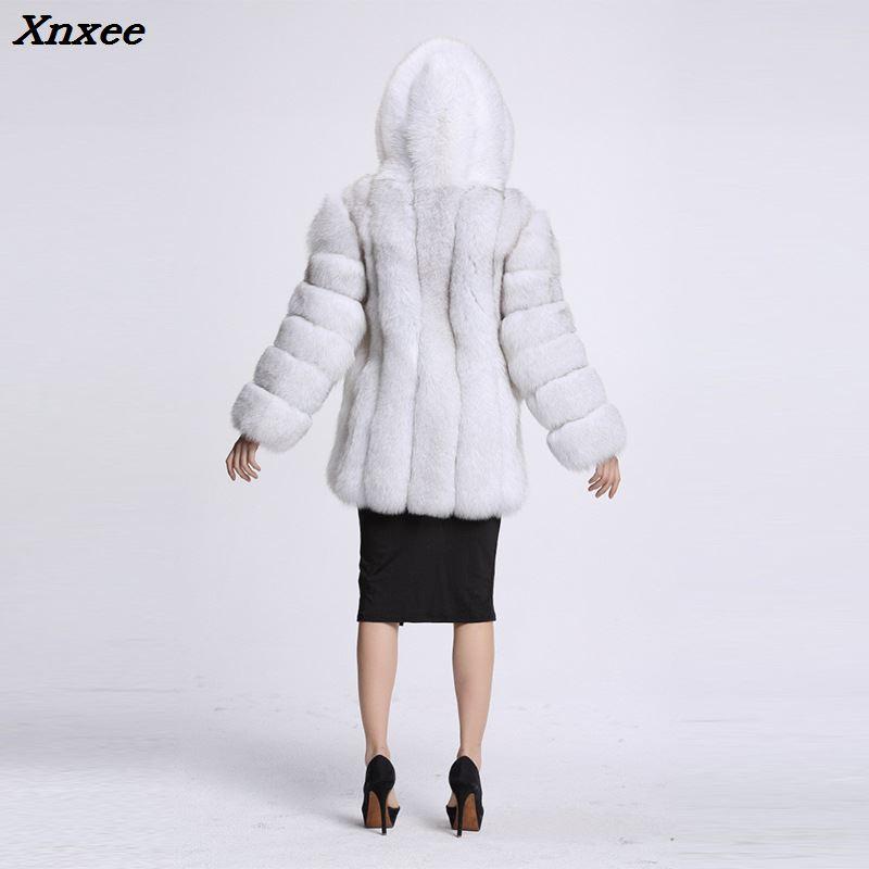 Xnxee elegancki długi Faux Fur Coat puszyste kurtka 2018 zimowa kobiety grube ciepłe Faux futro płaszcze z kapturem biały czarny plus rozmiar w Sztuczne futro od Odzież damska na  Grupa 2