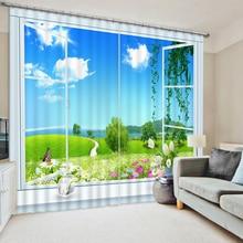 Retro Europa Stil 3D Vorhnge Wohnzimmer Fenster Landschaft Vintage Hause Benutzerdefinierte Foto
