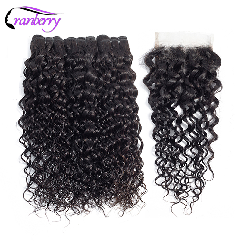 CRANBERRY Indian Hair Water Wave Bundles With Closure Remy Hair Bundles With Closure Free Middle Three