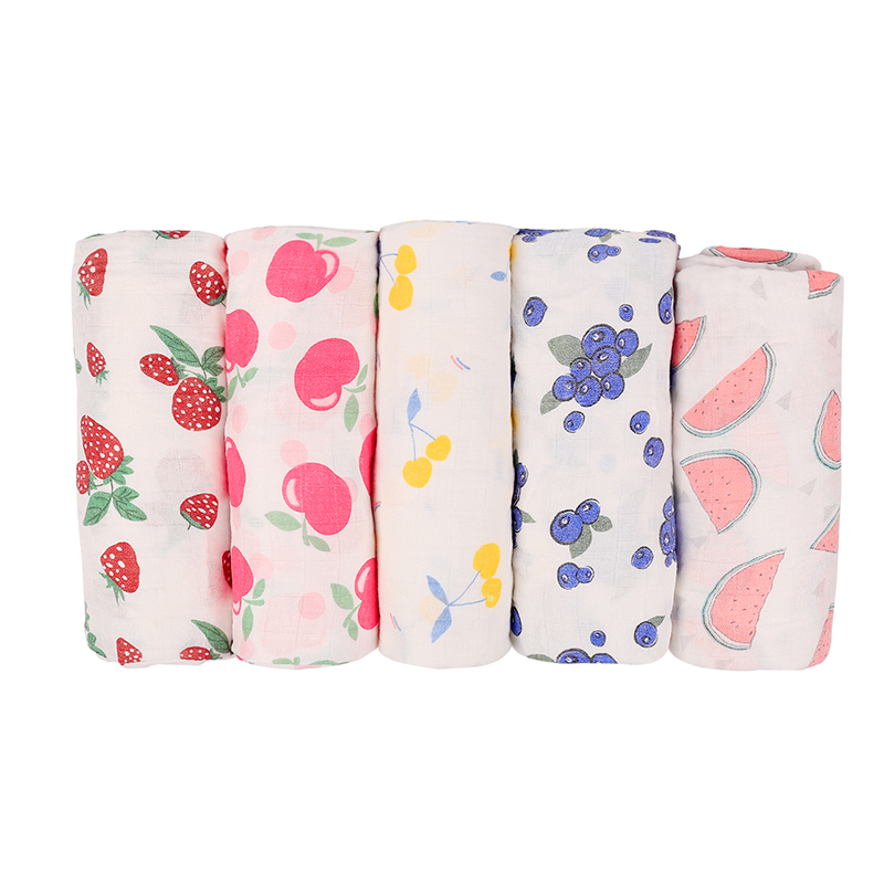 Baby Bamboo Blanket Swaddle Baby Fruit Print Infant For Babies Muslin Bamboo Cotton Bedding Newborns Bath Towel Stroller Cover