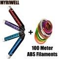 Añadir 100 Metro 20 de Color ABS Filamentos 3D Pen LED/LCD de 1.75mm ABS/PLA Niños Mejor Inteligencia educación 3D Impresión de la Pintura de La Pluma