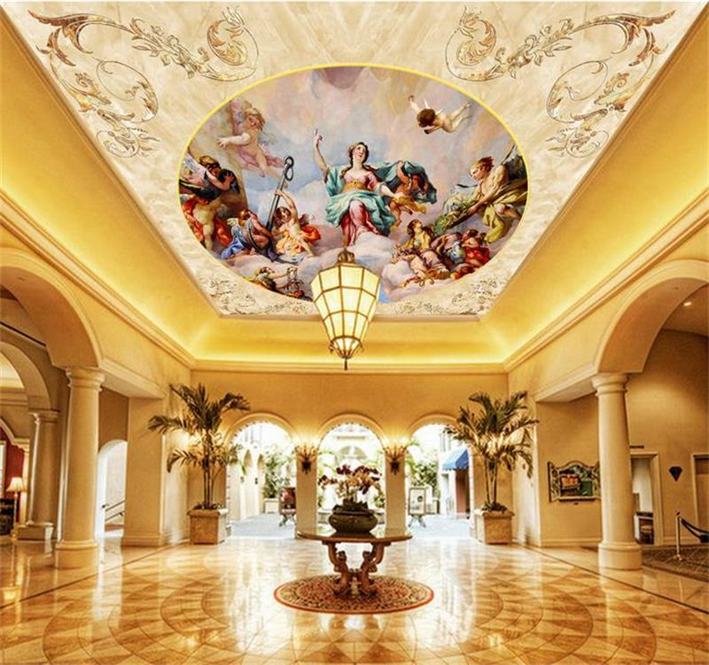 3d ceiling murals wallpaper custom photo non-woven Luxury European statues painting 3d wall mural wallpaper for living room 3d ceiling murals wallpaper custom photo non woven sky dandelion dove leaves painting 3d wall mural wallpaper for living room