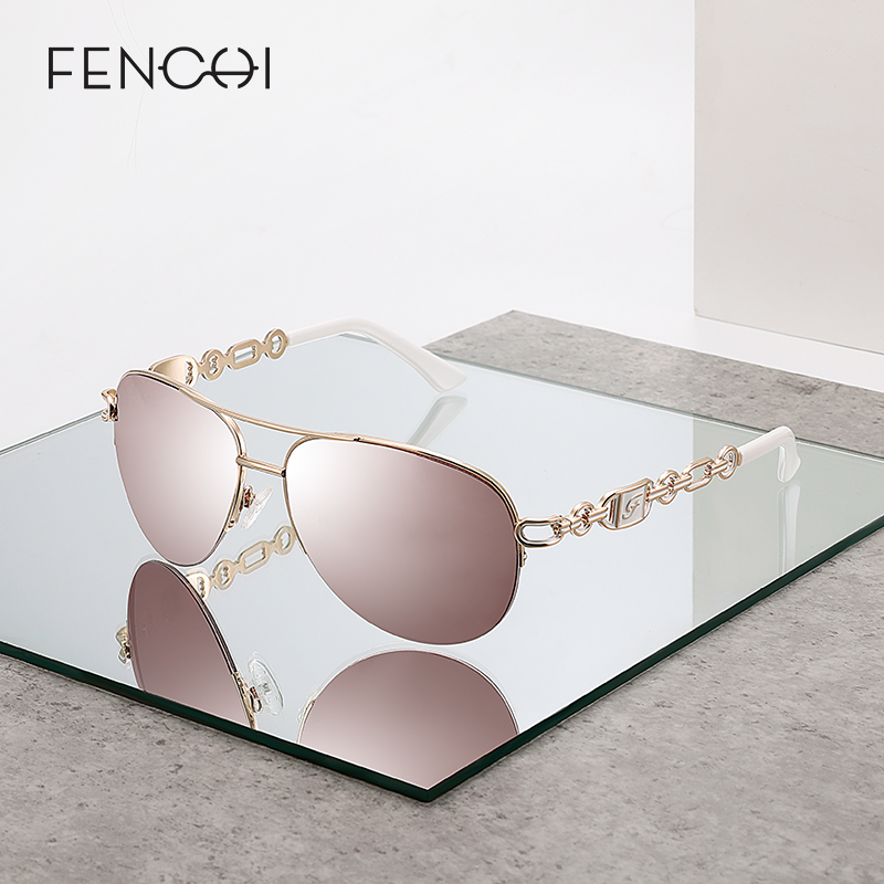 FENCHI lunettes de soleil femmes uv 400 oculos femme lunettes lunettes de soleil miroir pilote rose feminino zonnebril dames gafas de sol mujer