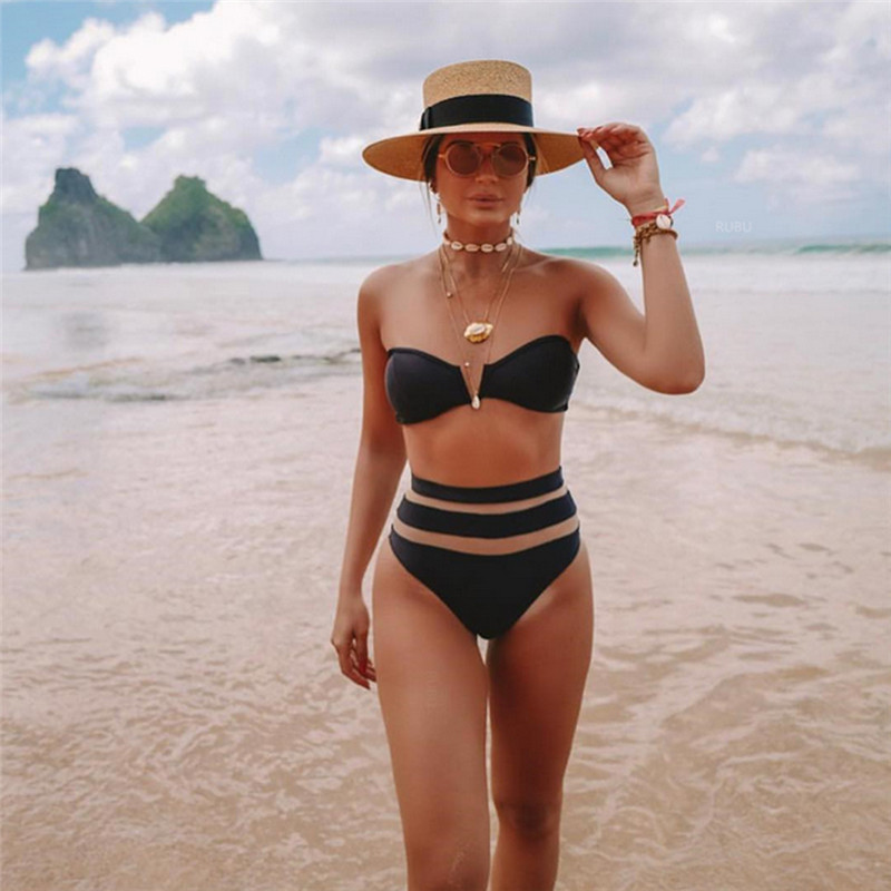 Women Sexy Solid V Cut High Waist Bandeau Bikini Swimsuit Set