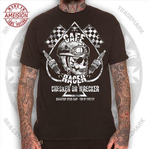 Plain Clothing Checker Wrecker Cafe Racer Greaser Tattoo Biker T`shirt