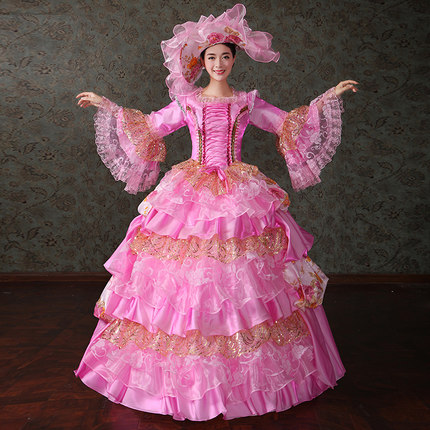 luxury pink/green/blue/yellow lace ball gown wonderland cosplay medieval dress Renaissance gown queen VictorianBelle Ball/belle