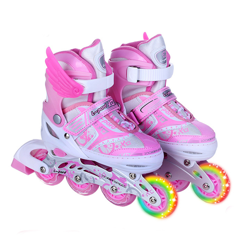Single Flashing wheel Roller Skates Shoes with Protective Suit For Kids Inline Daily Street Brush Skating Unisex Adjustable IA02 slalom recommend adult inline skate shoes for young man girl daily street brush skating roller skates for seba cityrun fsk