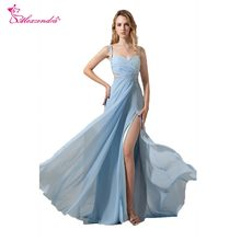 Alexzendra Light Blue Chiffon A Line One Shoulder Prom Dresses 2018 Beaded  Crossed Design Simple Party Dresses for Girls 04b3501bfb5a