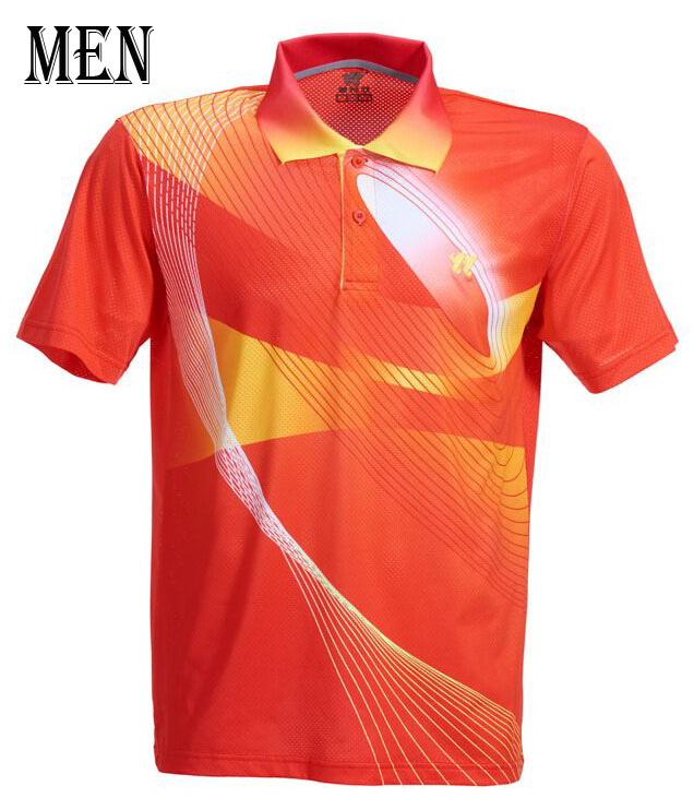Спортивная быстросохнущая дышащая футболка для бадминтона, майки для женщин/мужчин, волейбол, гольф, настольный теннис, боулинг, мужские футболки - Цвет: Man Red Shirt