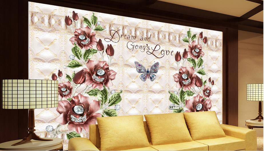 wall papers home decor 3d modern Red rose Jewelry 3d wallpaper mural TV backdrop living room wallpaper nonwoven-wallpaper