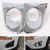 BBQ@FUKA Chrome ABS 2pcs Car Front Fog lights Lamp Shape Bezel Cover Trim Styling Sticker Fit For Chevrolet Trax 2014