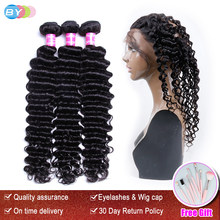 BY Deep Wave With Lace Frontal 3 Bundles Human Hair Weave With 360 Frontal Remy Brazilian Hair Weave Bundles With Frontal(China)
