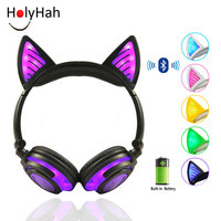 Holyhah-auriculares inalámbricos con Bluetooth, auriculares plegables con Oreja de Gato intermitente para niños, auriculares para videojuegos con luz LED