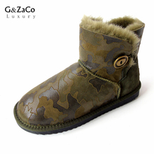 G&Zaco Luxury Sheepskin Boots Green Camouflage Buckle Ankle Genuine Leather Snow Boots Button None Slip Women's Shoes Wool Boot