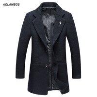 Aolamegs Erkekler Kış Ceketler Yün Palto Moda Rahat Slim Fit erkek Palto Sıcak Kabanlar Orta-uzun Tarzı Ceket Parka