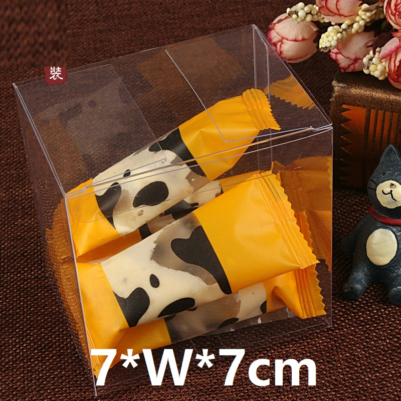 7*W*7cm Clear Plastic Square Wedding Favor Gift Box PVC Transparent Waterproof Candy Bags Chocolate Boxes Decor Event Party