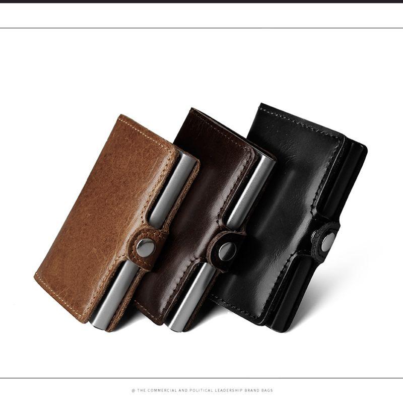 d30ca2133dff1 Kaufen Billig Echtes Leder Mens Aluminium Brieftasche Mit Zurück Tasche ID  Karte RFID Blocking Mini Magische Brieftasche Automatische Kreditkarte  Geldbörse ...