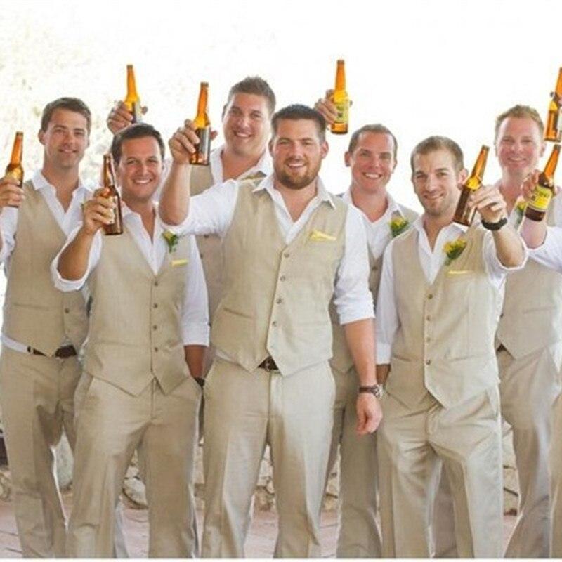 2018 Spring/Summer Groom Wear Beach Wedding Men Suits Waistcoat And Pants New Groom Men Suit Tuxedos (Vest+Pant)