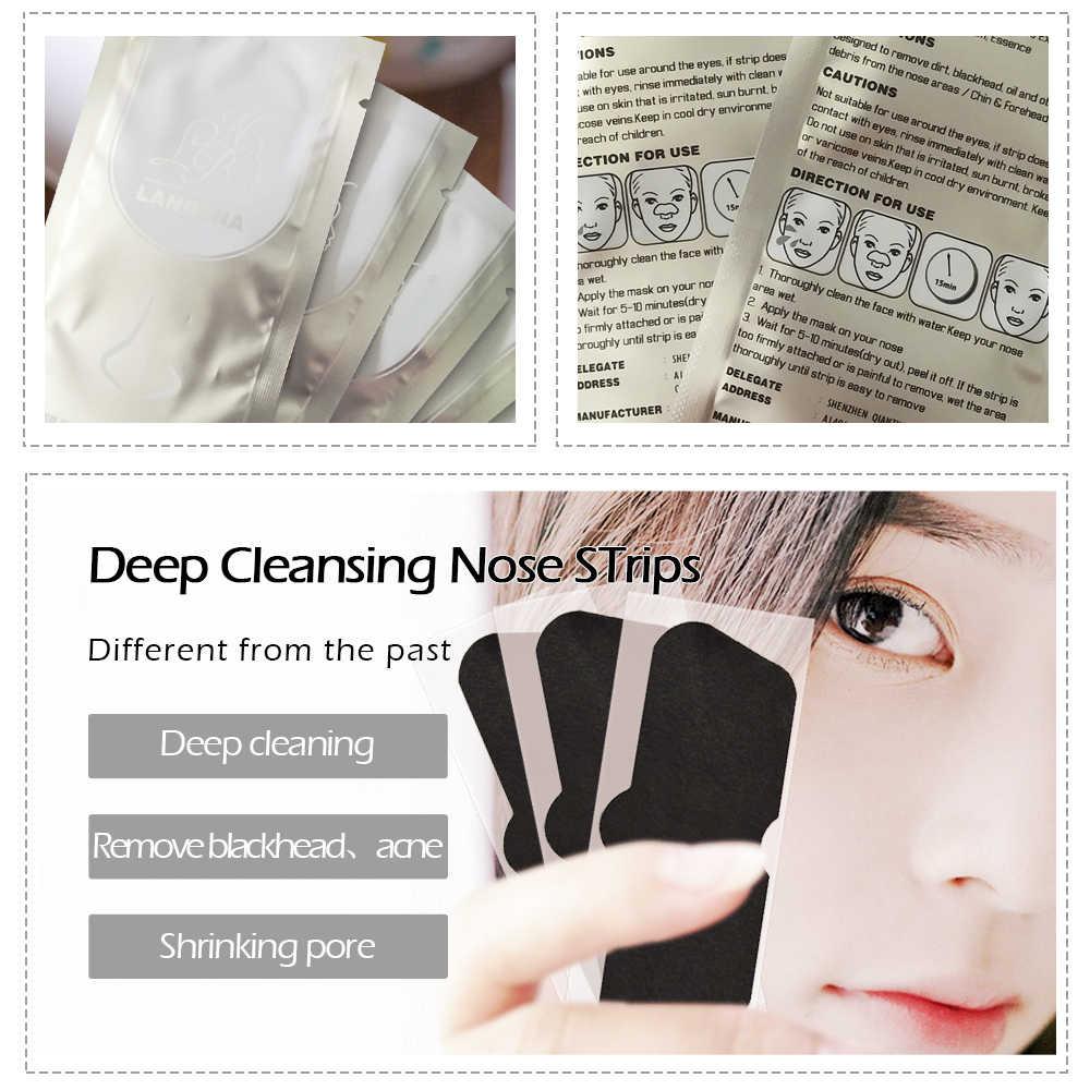 นาฬิกา LANBENA ไม้ไผ่ถ่าน Noas หน้ากากหน้ากาก Blackhead Remover Pore Strip Black Mask ลอกสิว Treatment Skin Care 10 PCS