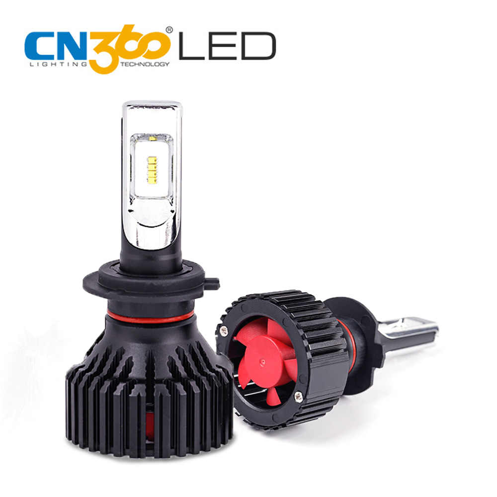 CN360 2PCS Car LED Headlight Bulb H7 led 6500k 60W 80000Lumens LED Auto Bulb Single Beam Light  With Cooling Fan