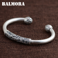 BALMORA 100 Real 990 Pure Silver Vintage Fish Lotus Flower Open Bangles For Women Silver Jewelry