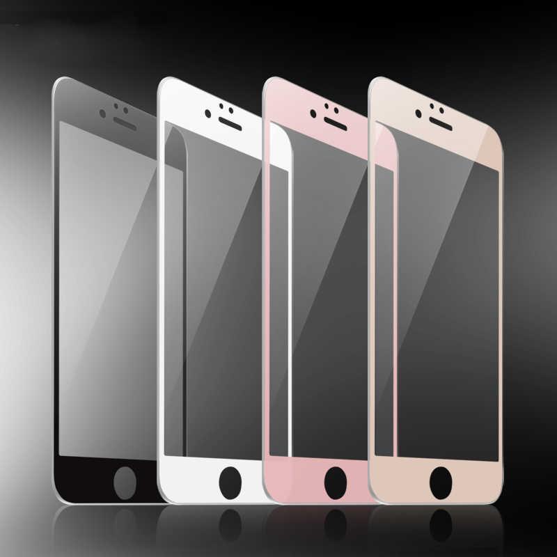 Siyah beyaz gül altın 9H tam kapak temperli cam ekran koruyucu için iPhone 6 6s 7 8 artı 8 artı SE 2020 X XR XS 11 Pro Max
