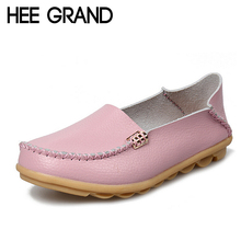 HEE GRAND Women Shoes Genuine Leather Summer Platform Shoes Woman Slip On Loafers Ballet Flats 16 Colors Size Plus 35-44 XWD4200