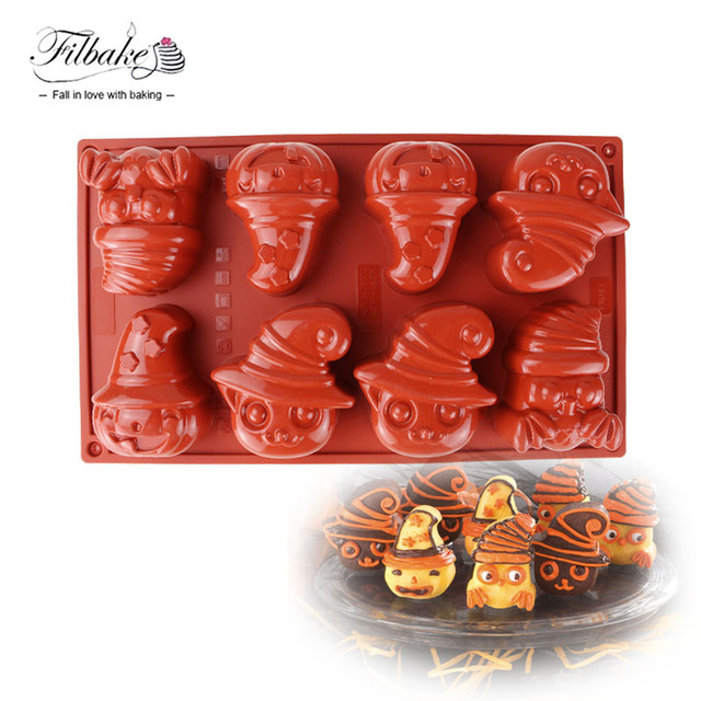filbake 8 hole halloween supply cartoon mask clown shaped 3d diy baking dessert silicone mold for - Halloween Supply Store