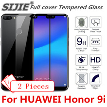 2pcs Full cover Tempered Glass For HUAWEI Honor 9i screen protective case 9H toughened black frame all edges on smartphone