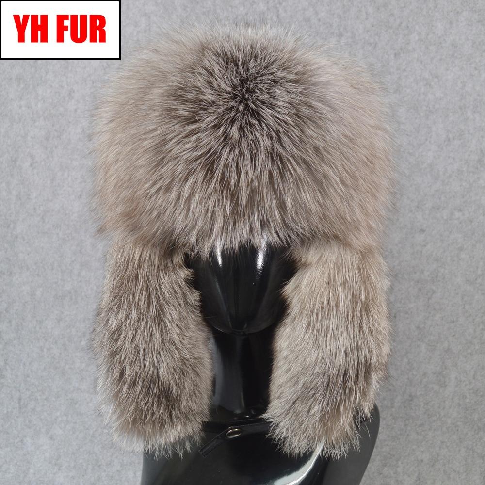 Bomber-Hat Hats Fox-Fur-Cap Russia Winter Genuine-Leather Real Warm Men Handmade Fluffy